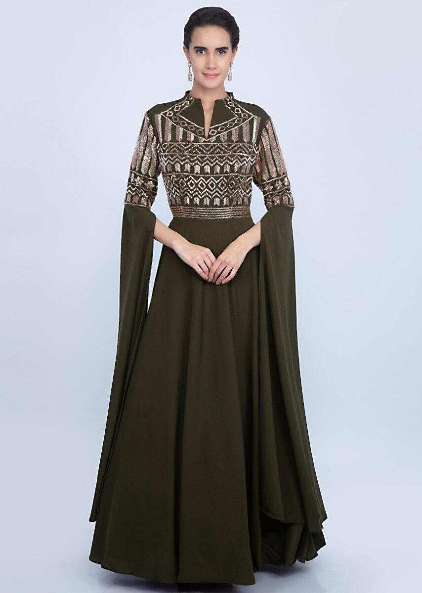 559c1bd052 Olive green double georgette gown with embroidered bodice and long flared  sleeves only on Kalki