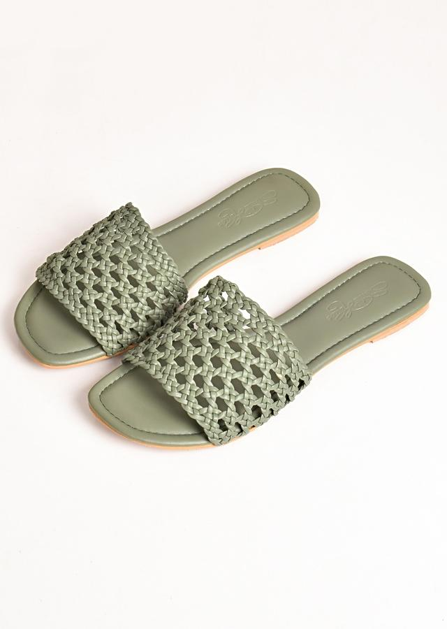 Olive Green Flats With Hand Woven Mesh Design By Sole House