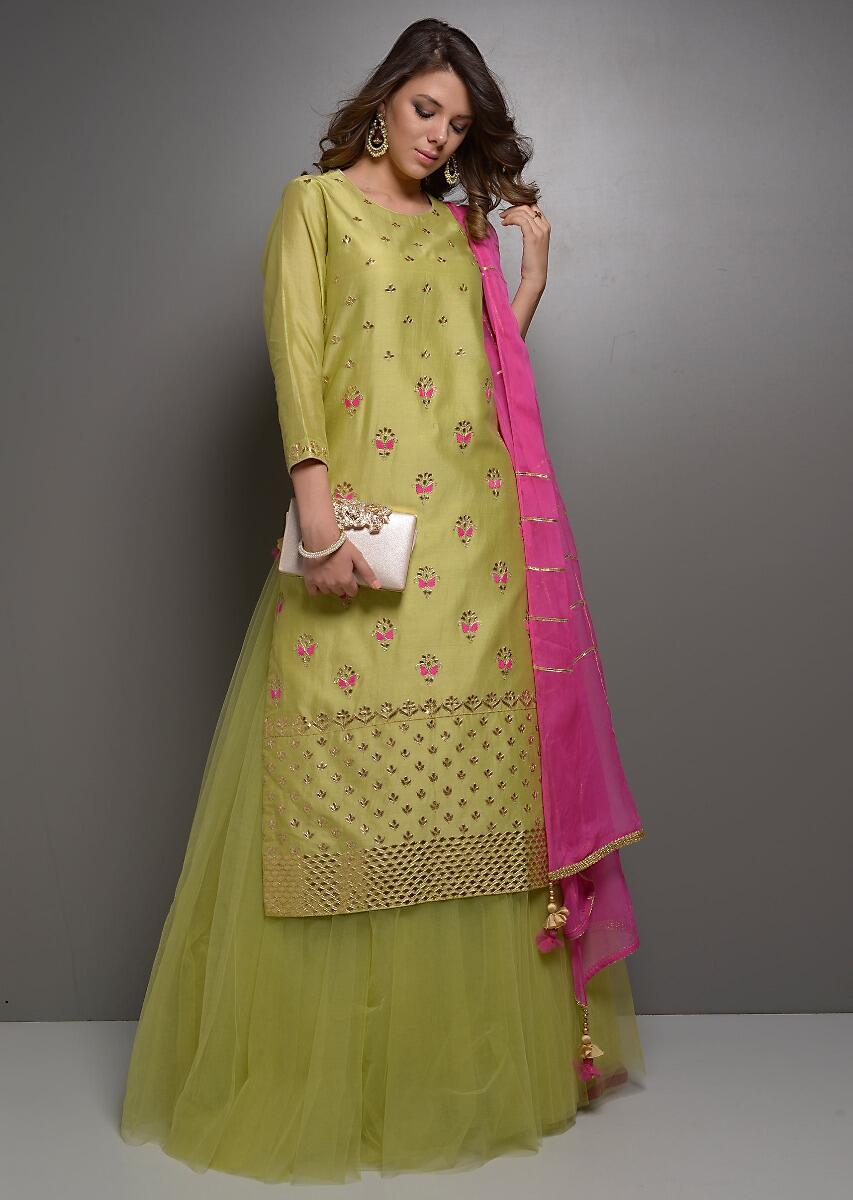 c9782288c6 Olive green gota jaal embroidered suit with net skirt and rani pink dupatta