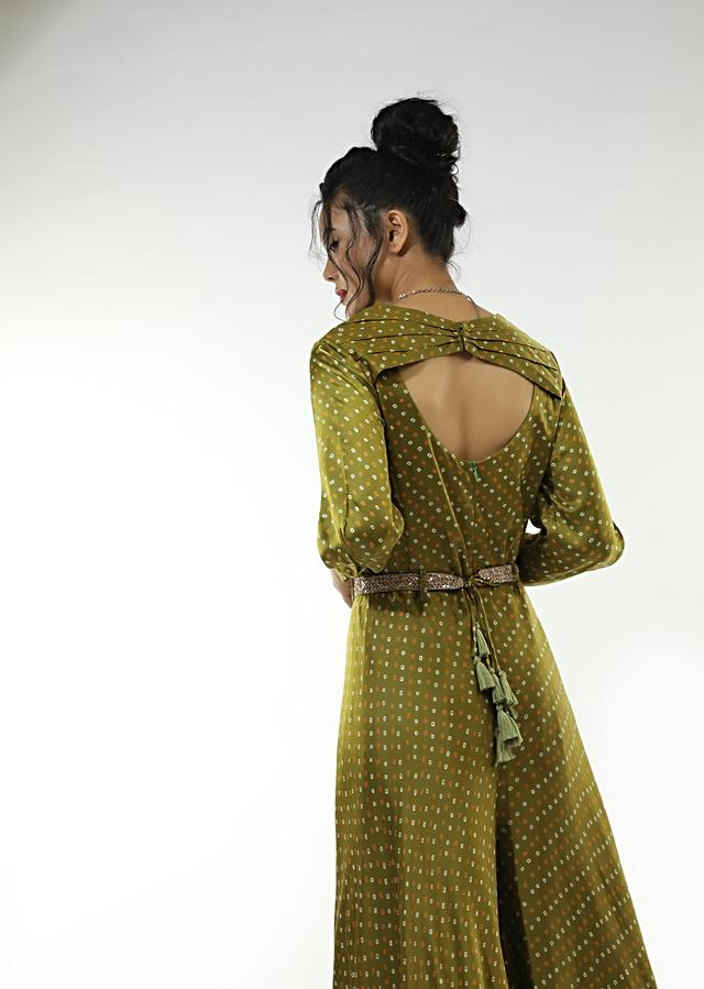 Olive Green Jumpsuit In Satin Blend With Bandhani Print All Over And An Overlapping Pleated Bodice With A Mirror Belt Online - Kalki Fashion
