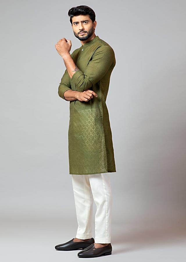 Olive Green Kurta In Chanderi Paired With Cream Cotton Pajama Pants By Smriti Apparels