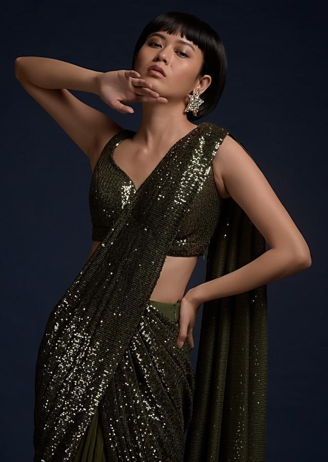 Olive Green Ready Pleated Saree In Crepe With Sequins Pallu And Matching Sleeveless Blouse Online - Kalki Fashion
