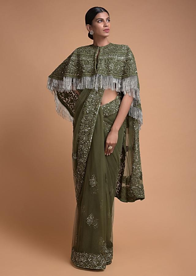 Olive Green Saree In Net With Matching Cape Having Floral Jaal Embroidery Online - Kalki Fashion