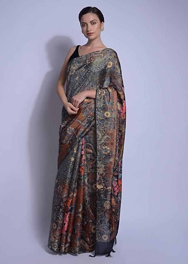 Olive Green Saree In Silk With Multi Colored Print All Over In Floral Pattern Online - Kalki Fashion