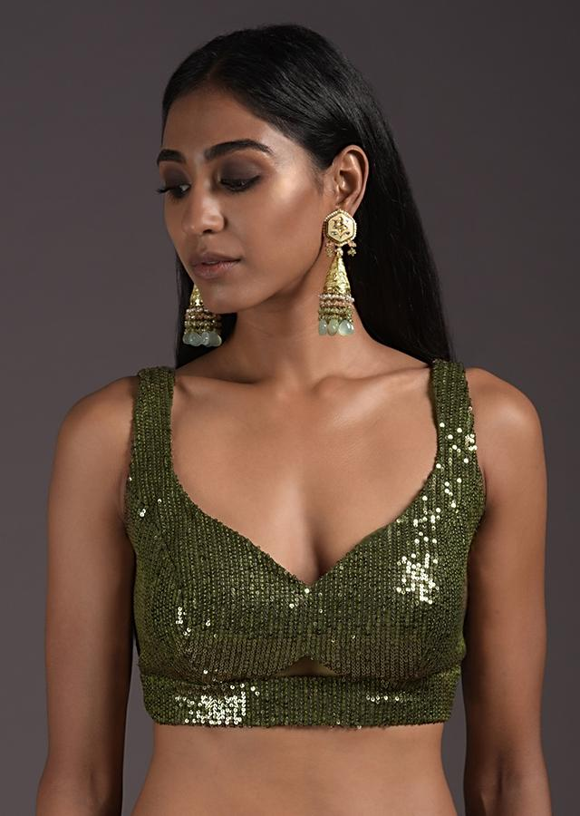 Olive Green Sleeveless Blouse In Sequins Fabric With Cut Outs In The Front And Back Online - Kalki Fashion