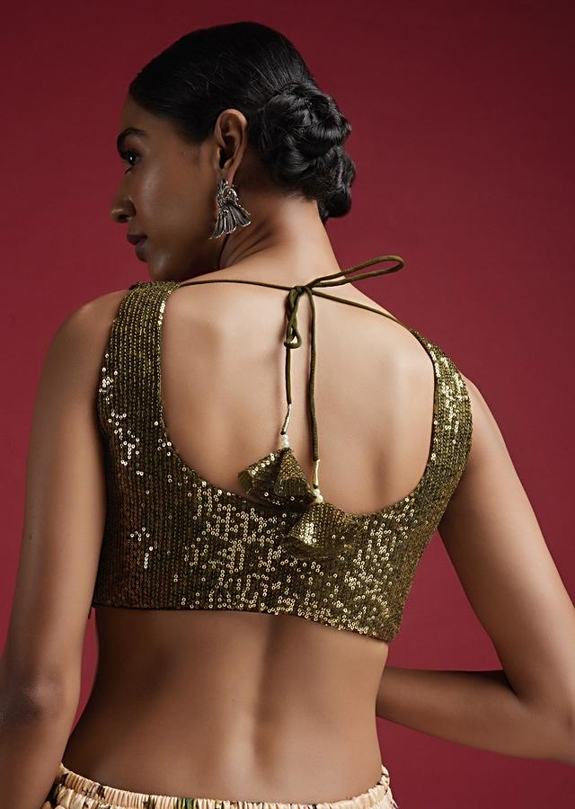 Olive Green Sleeveless Blouse In Sequins Fabric With Notched Neckline Online - Kalki Fashion