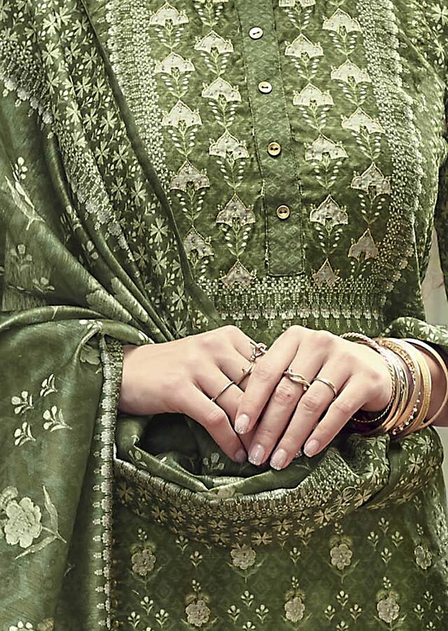 Olive Green Straight Cut Suit In Tussar Silk With Printed Floral Buttis And Zari Work Online - Kalki Fashion