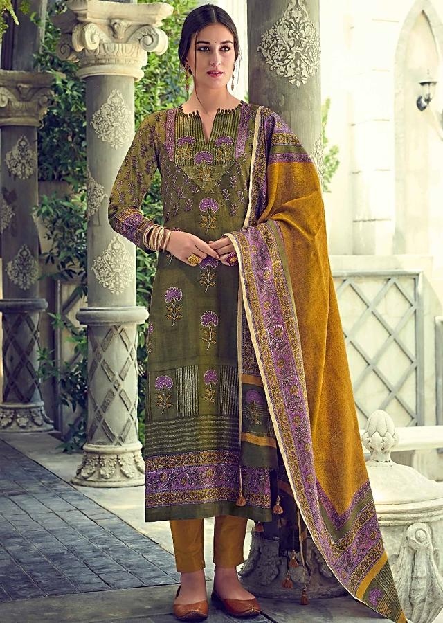 Olive Green Suit In Tussar Silk With Block Printed Floral Buttis Online - Kalki Fashions