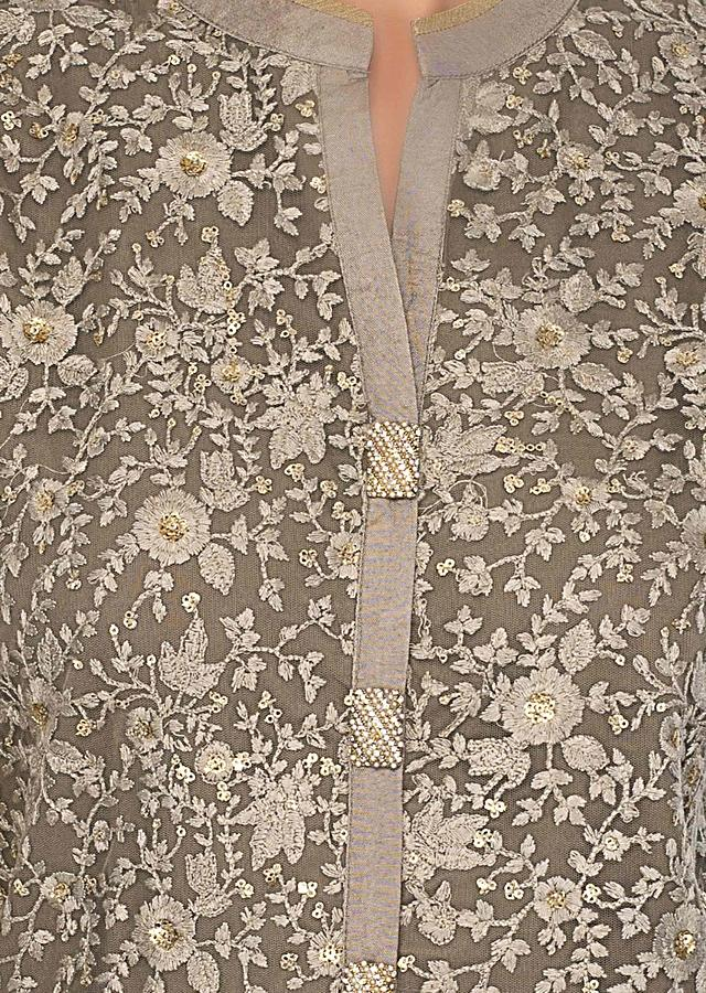 Olive Grey Kurti In Net With Thread Jaal Embroidery Online - Kalki Fashion