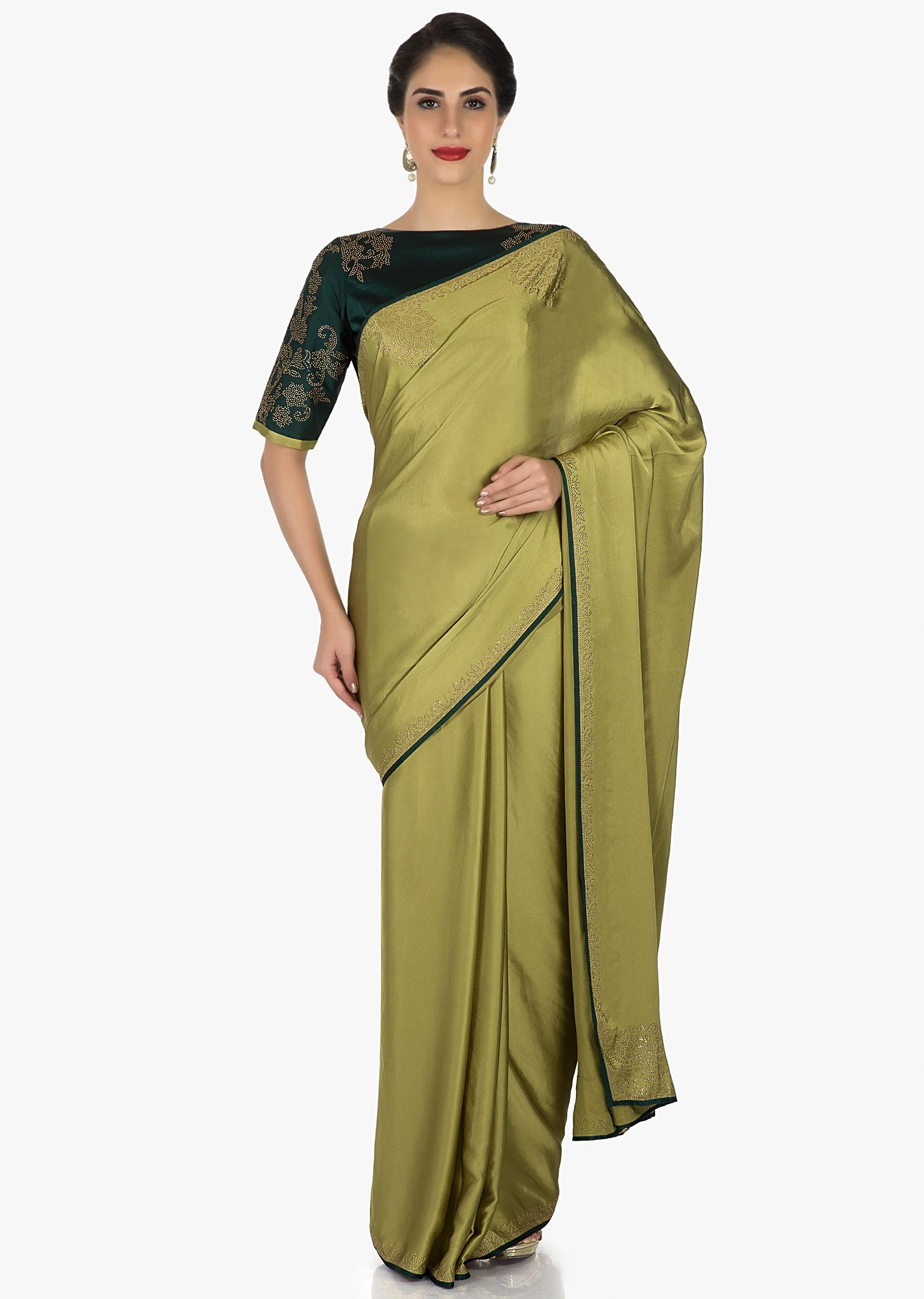 74c7c226dab3b Olive green saree beautified with the kundan embroidery only on KalkiMore  Detail