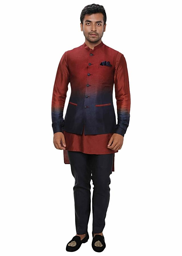 Ombre Shaded Short-Long Contemporary Kurta Paired With A Ombre Shaded Nehru Jacket & Navy Straight Pants Online - Kalki Fashion