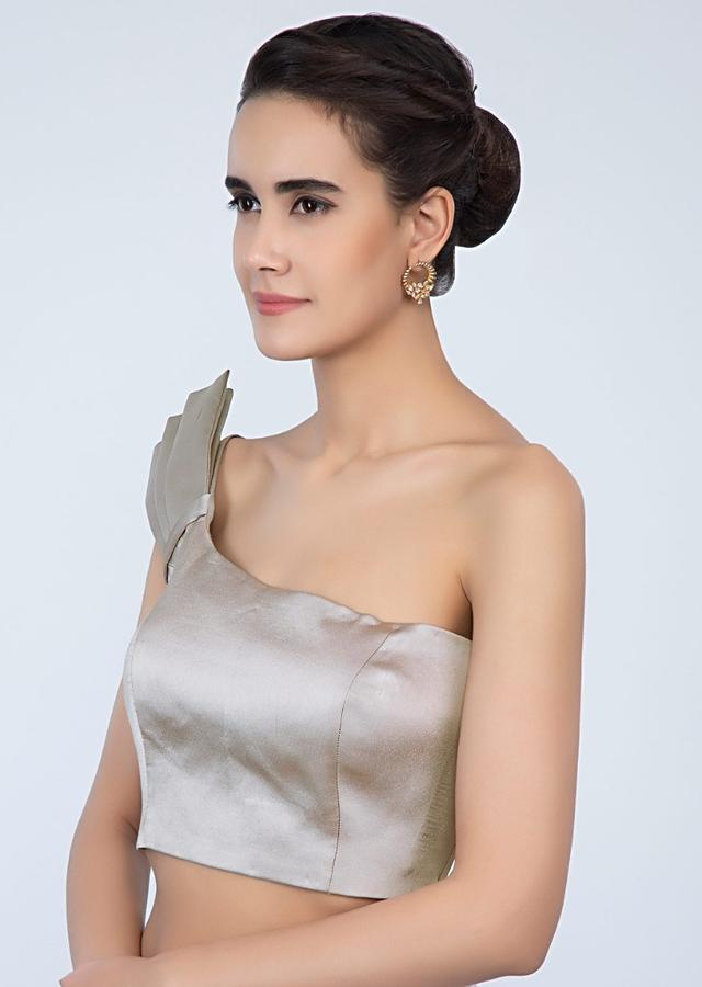 Grey Blouse In Satin With Fancy One Shoulder Neckline Online - Kalki Fashion