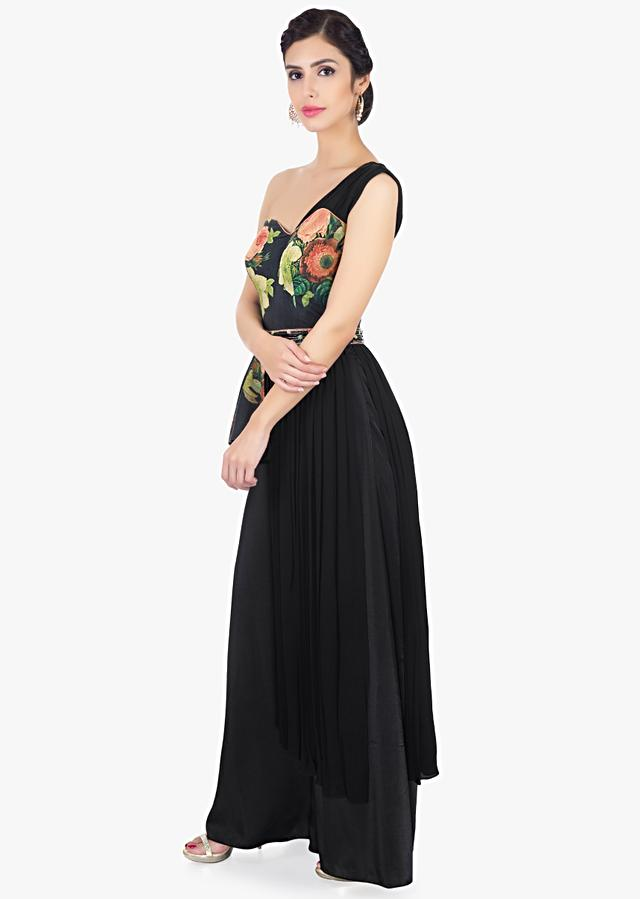 Black Jumpsuit With Floral Print,Peplum Style And One Shoulder Neckline Online - Kalki Fashion
