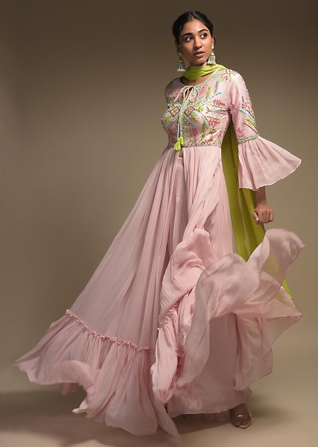 Onion Pink Anarkali Suit In Georgette With Front Slit And Ruffle Frill On The Hem Online - Kalki Fashion