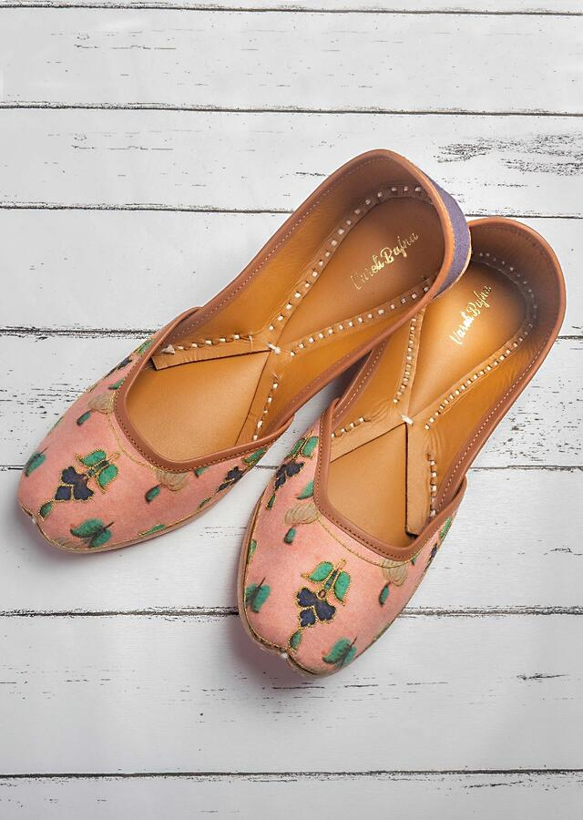 Onion Pink Juttis In Cotton Satin With Multi Color Print And Gold Resham Work By Vareli Bafna