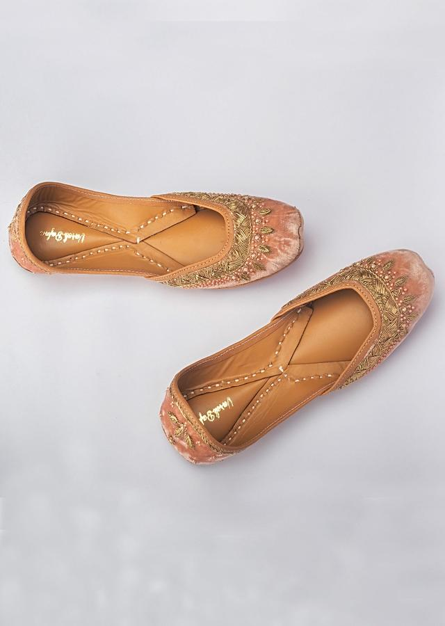 Onion Pink Juttis In Velvet Hand Embroidered With Zardozi And Pearls By Vareli Bafna