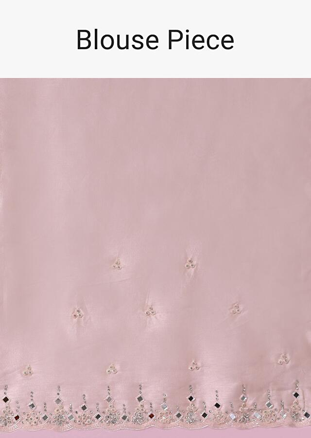 Onion Pink Saree In Organza With Mirror Embroidered Scallop Border Along With Cut Dana Accents Online - Kalki Fashion