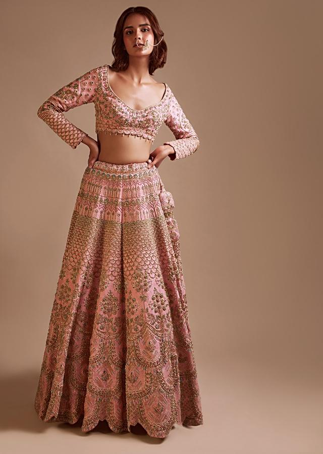 Onion Pink Lehenga Choli In Raw Silk With Embossed Embroidery In Elaborate Scallop Design And Floral Motifs Online - Kalki Fashion