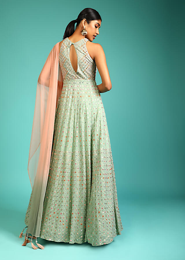 Opaline Green Anarkali Suit In Georgette With Halter Neckline And Multi Colored Resham And Mirror Embroidery All Over Online - Kalki Fashion