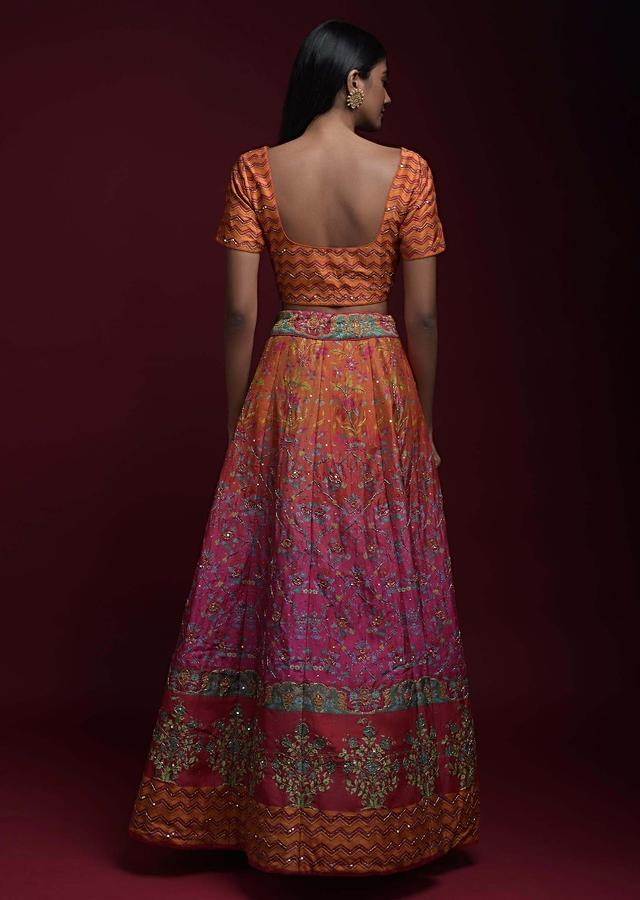 Orange And Magenta Shaded Lehenga With Printed Chevron And Floral Motifs And Jaal Pattern Online - Kalki Fashion