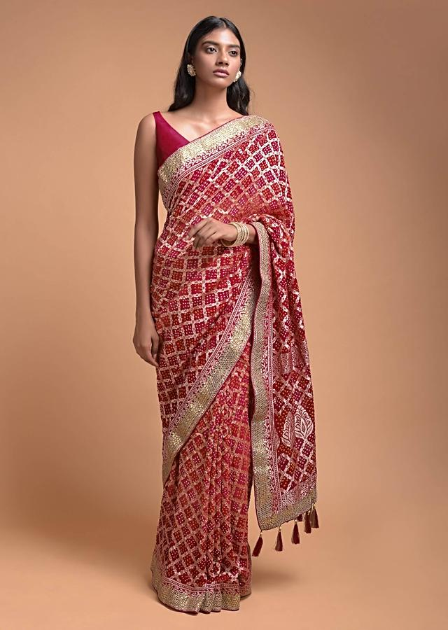 Orange And Red Shaded Saree In Georgette With Bandhani Print And Weaved Checks Online - Kalki Fashion
