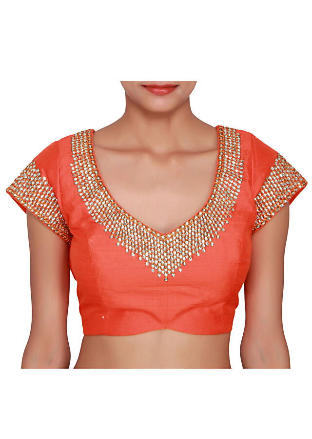 Orange blouse featured in raw silk, embellished in stone  only on Kalki