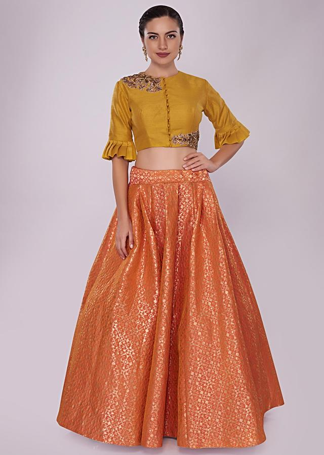 Orange Brocade Skirt Paired With A Chrome Yellow Raw Silk Crop Top Online - Kalki Fashion