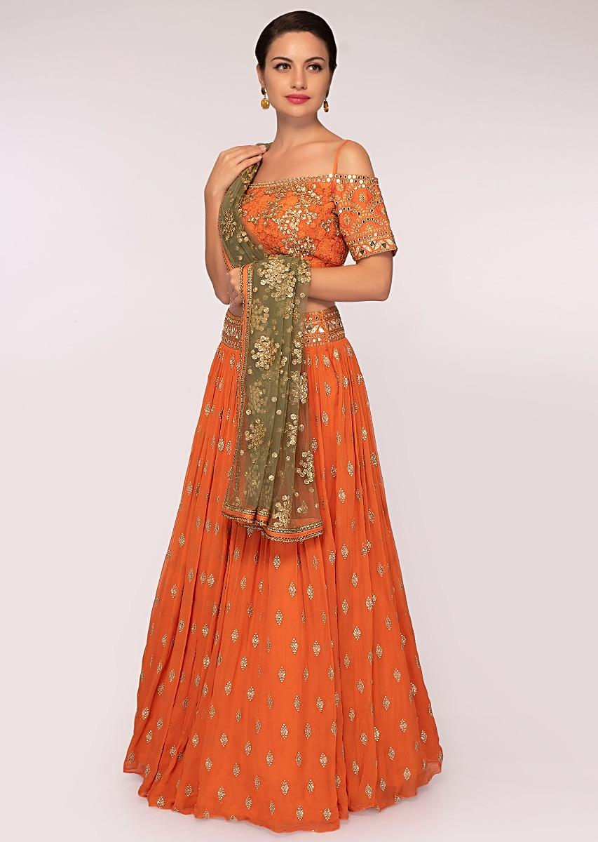 1aedee832e Orange georgette lehenga set with sequins and zari embroidery and butti only  on Kalki