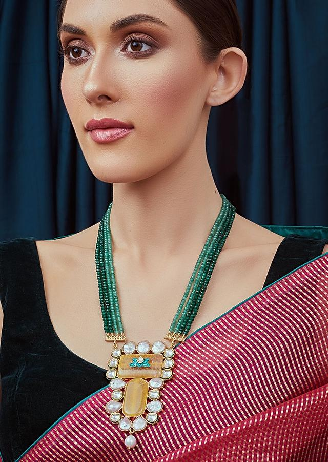 Orange And Green Necklace In Handcarved Meenakari Polki, Baroque Pearls And Green Agate Bead Strings Joules By Radhika