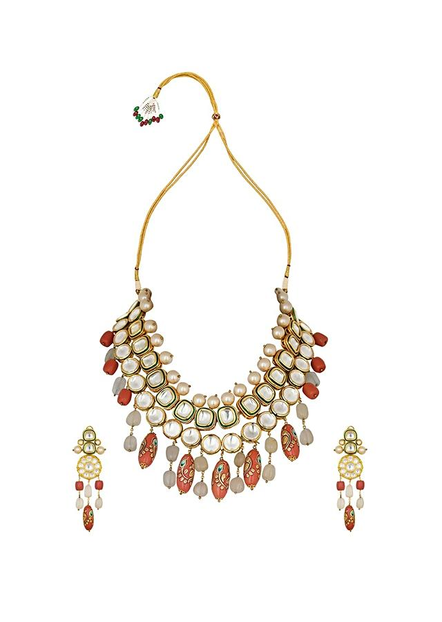 Orange Kundan Necklace And Earrings Set With Jade Drops, Shell Pearls And Hand Painted Coral Drops Online - Joules By Radhika