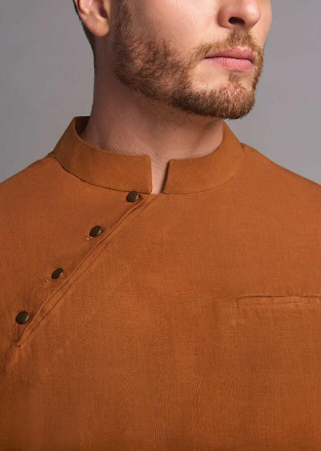 Orange Kurta Set In Hand-Woven Cotton Linen With Short Diagonal Placket By Suta