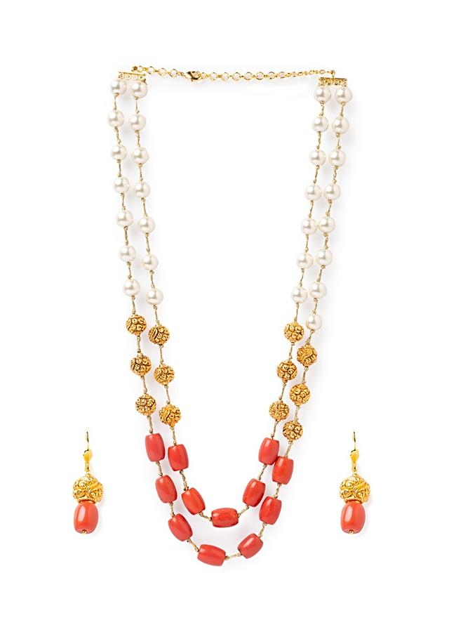 Orange Layered Necklace And Earrings Set With Coral Beads, Shell Pearls And Gold Plated Carved Beads Online - Joules By Radhika