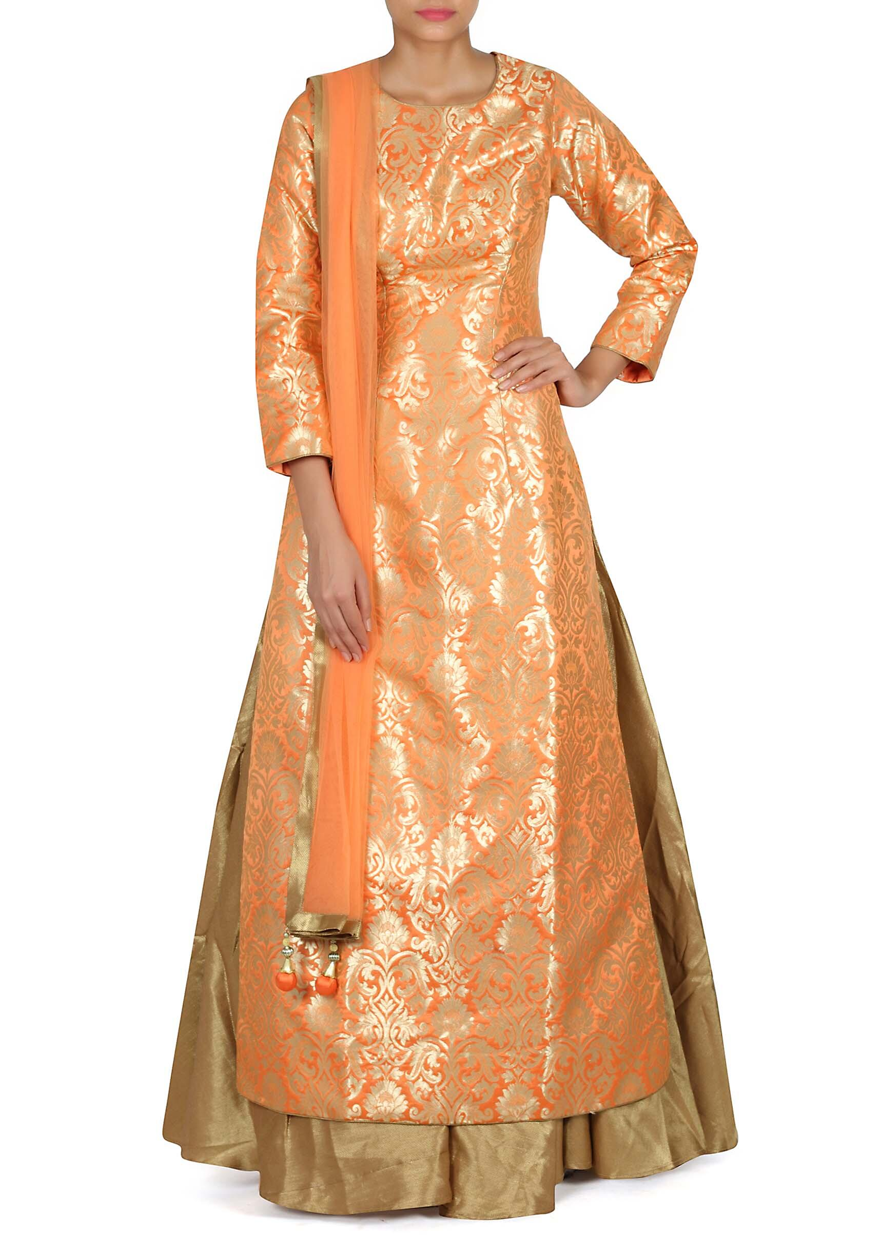 Image result for orange and gold brocade gown