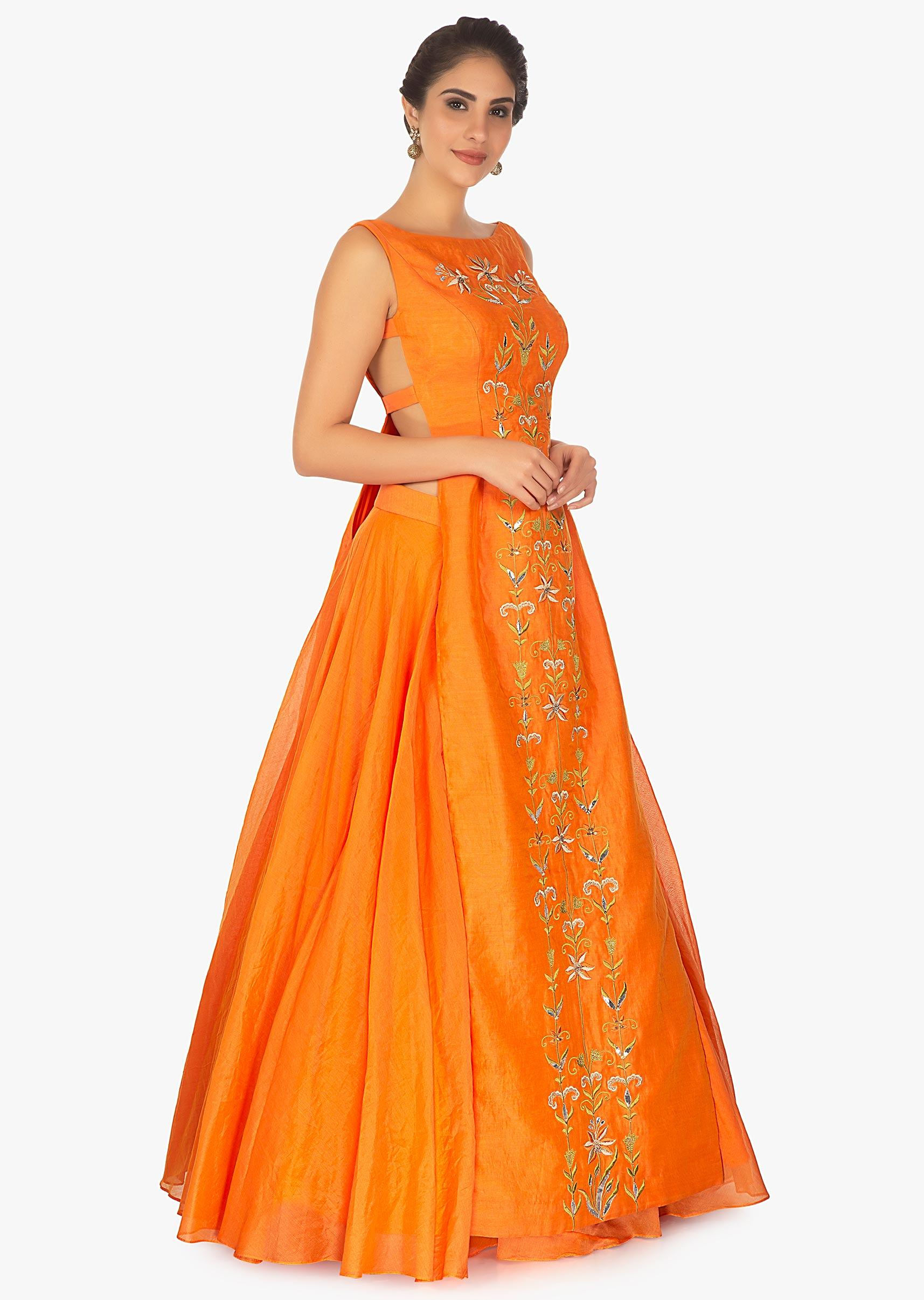 d61b1a4e5702 Orange long kurti top in resham paired with chanderi silk skirt only on  Kalki