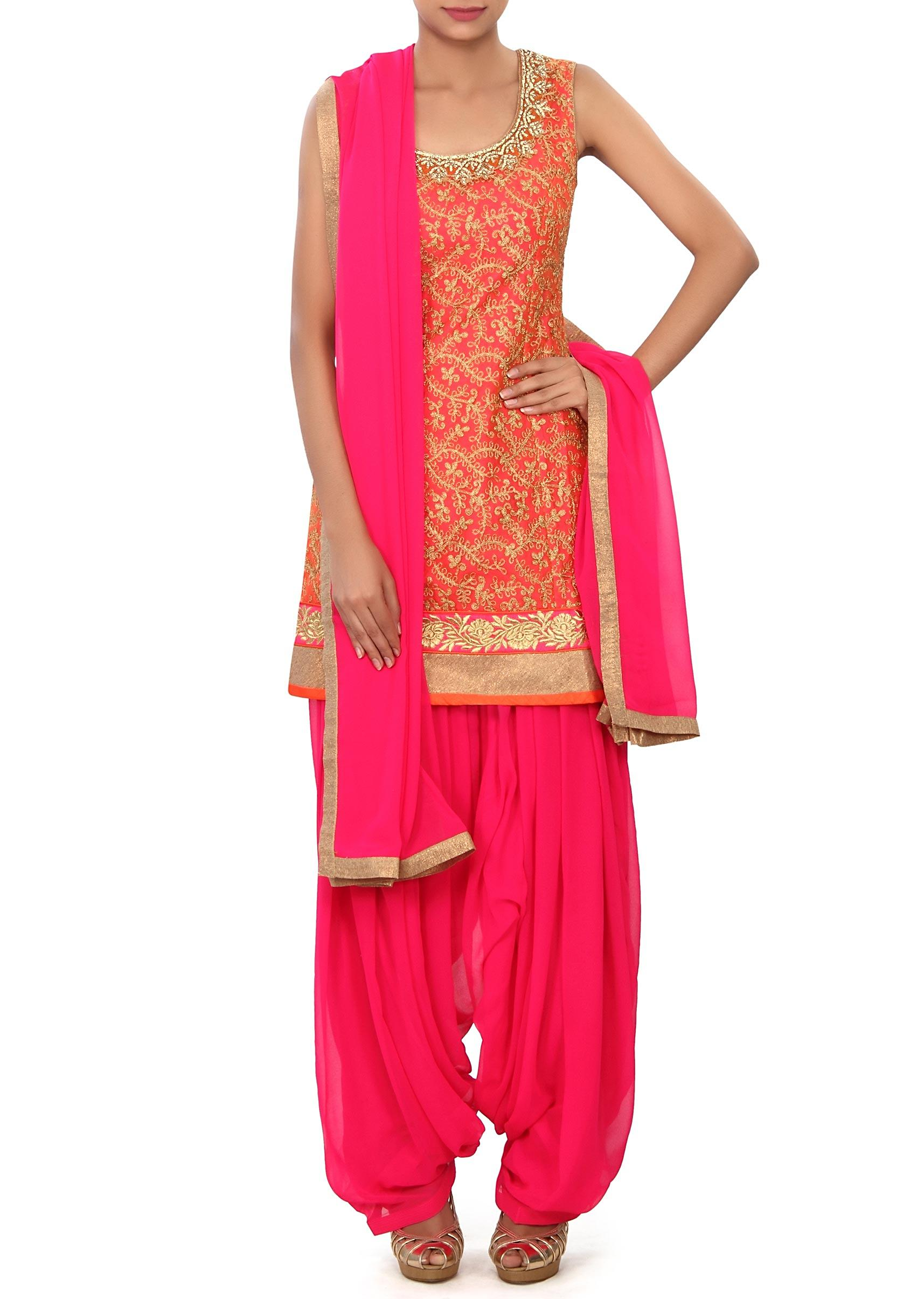 1ed1ae96d080b Orange patiala suit adorn in aari and zardosi embroidery only on KalkiMore  Detail