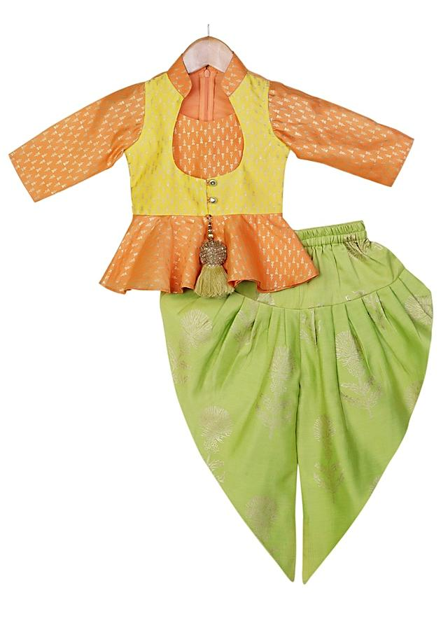 Orange Peplum Top With Yellow Attached Jacket And Light Green Dhoti Pants Online - Free Sparrow