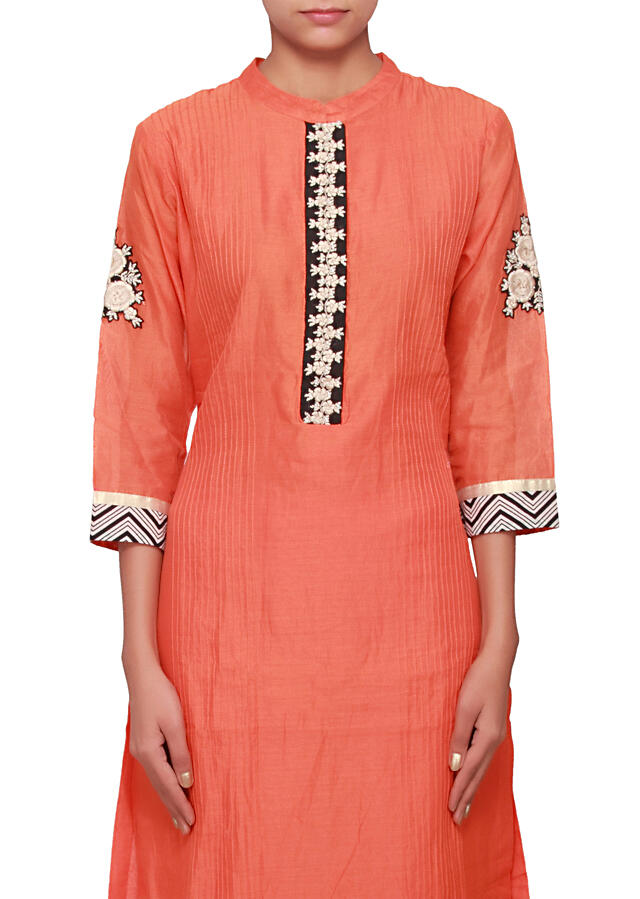 Orange straight fit suit featuring in embellished placket only on Kalki