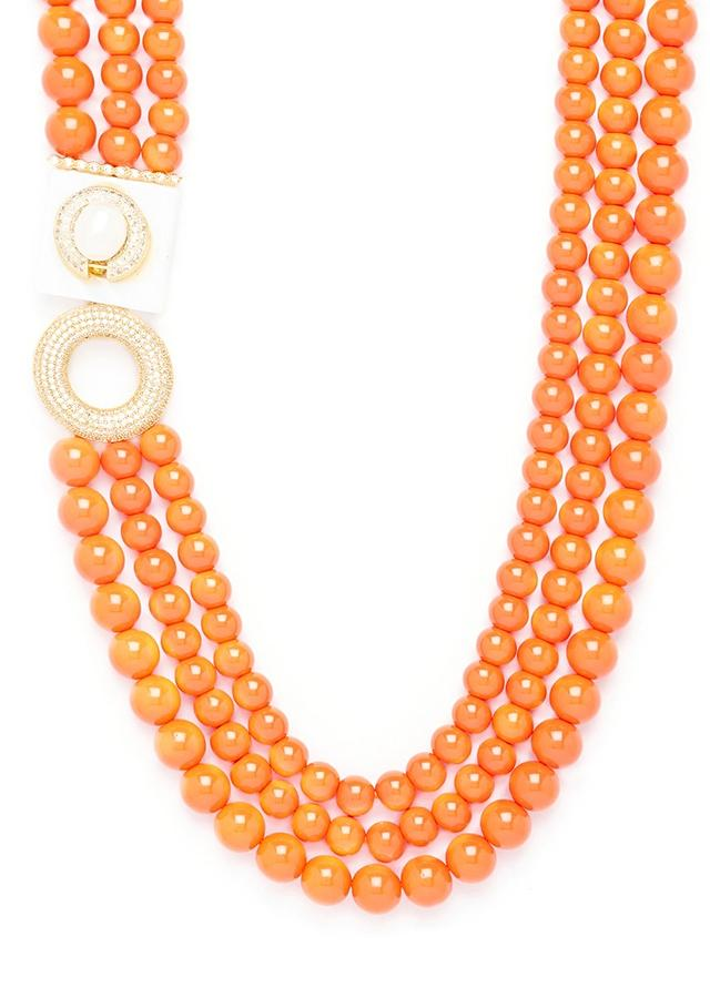 Orange Three Layered Necklace With Coral Pearls And Swarovski Studded Highlight Online - Joules By Radhika