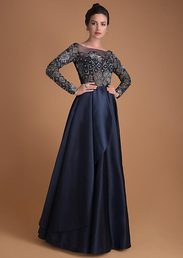 Organic Blue Gown In Hand Embellished Bodice And Fancy Drape Online - Kalki Fashion