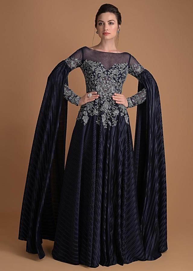 Organic Blue Gown In Hand Embellished Net With Extended Floor Length Sleeves Online - Kalki Fashion