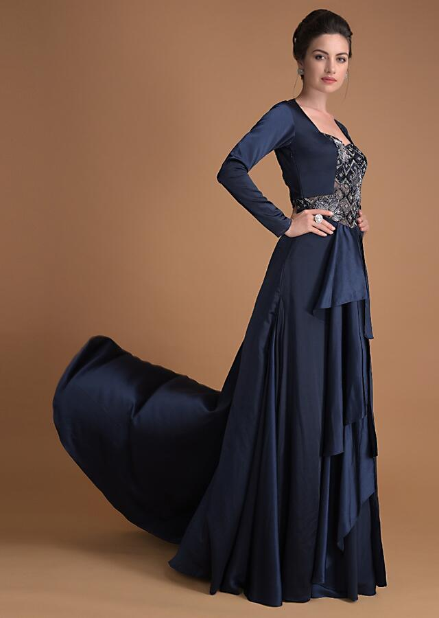 Organic Blue Gown With A Vintage Silhouette And Embroidered Bodice Online - Kalki Fashion