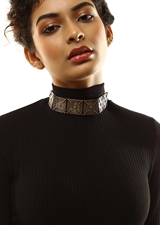 Oxidised Choker Featuring Carved Square Motifs With Swarovski In The Centre By Kohar