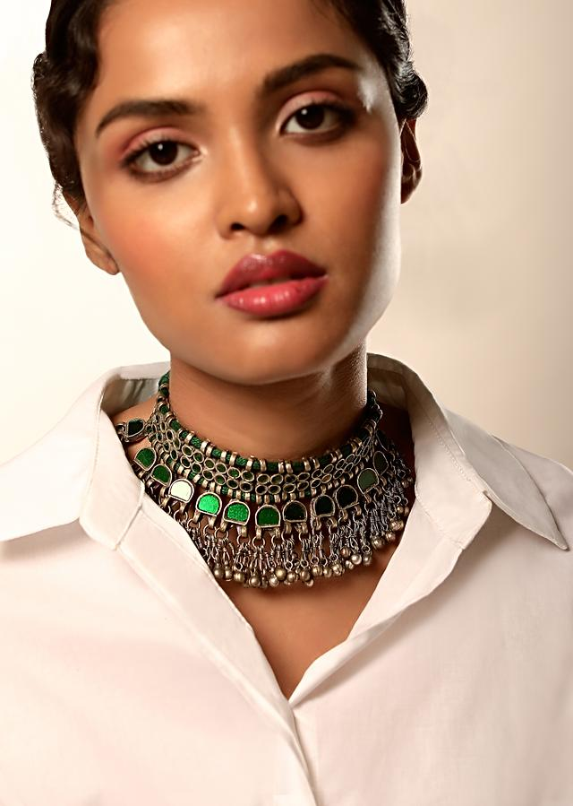 Oxidised Choker Necklace With Green Glass Work And Dangling Ghungru Tassel Fringes By Kohar