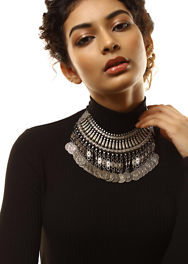 Oxidised Collar Necklace With Carved Armor Beads And Dangling Coin Tassel Fringes By Kohar
