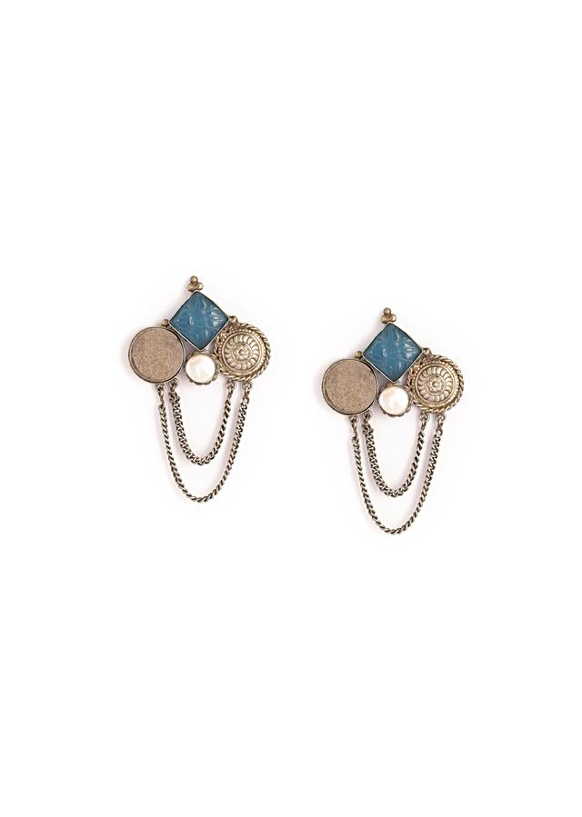Oxidised Earrings Featuring Modern Abstract Placed Geometric Motifs Studded With Carved Blue Stone, Baroque Pearl And Chain Detailing By Kohar
