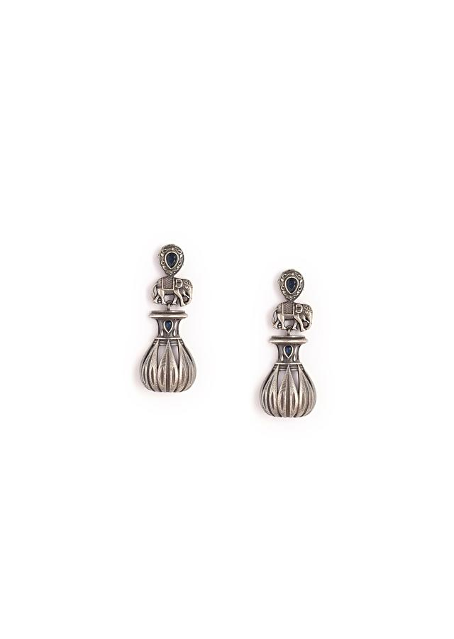 Oxidised Earrings With Carved Elephant Motif And Studded With A Blue Semi Precious Stone By Kohar