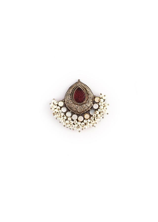 Oxidised Earrings With Carved Leaf Design, Maroon Semi Precious Stone And Pearl Work By Kohar