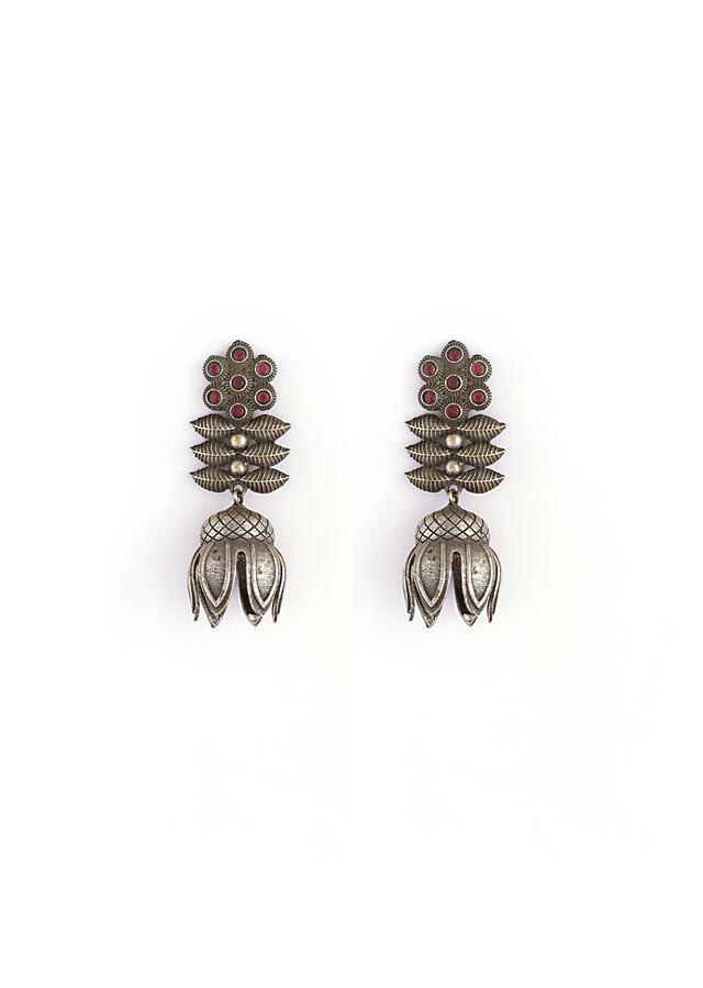 Oxidised Jhumkas In Floral Design Along With An Inverted Flower And Studded With Wine Stones By Kohar