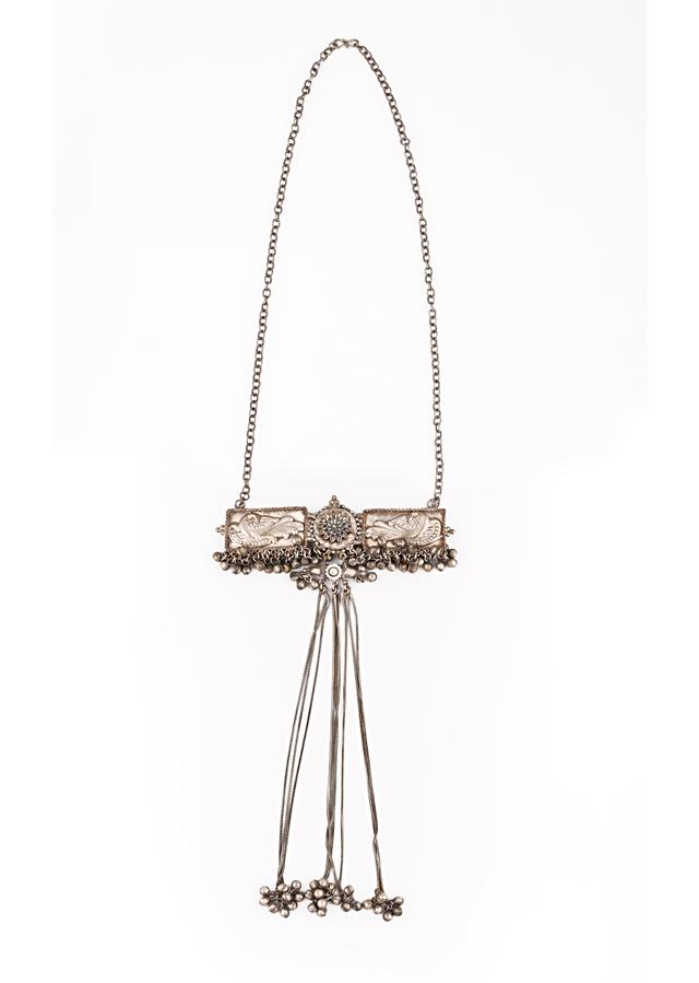 Oxidised Long Necklace With A Horizontal Pendant With Carved Peacock And Floral Motifs Along With Ghungru Tassels By Kohar