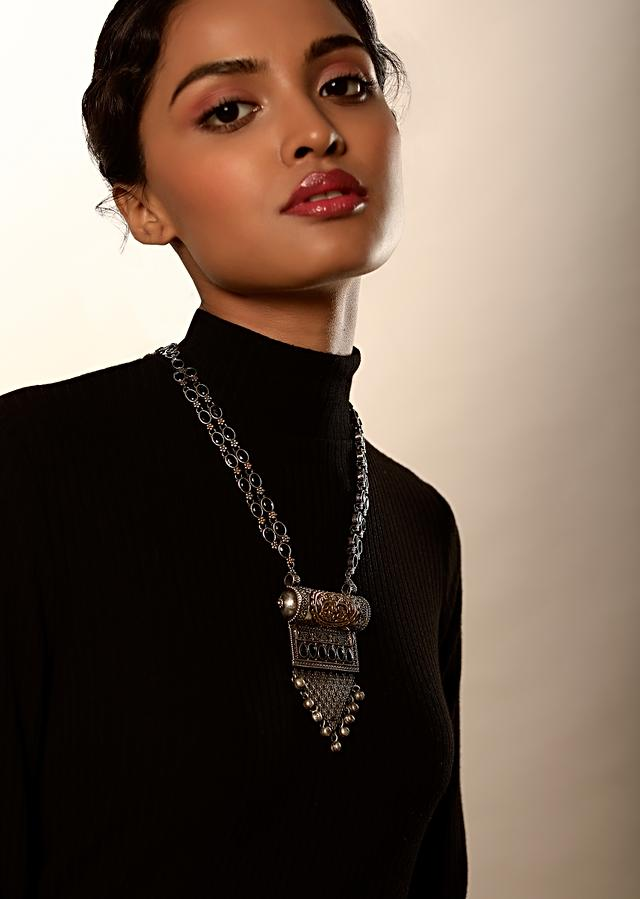 Oxidised Necklace With Gold Plated Carvings And Studded With Semi Precious Blue Stones By Kohar